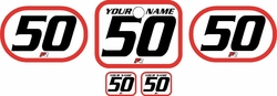 <B>Fits Honda QR50 1983-2000 Pre-Printed Backgrounds White - Red Bold Pinstripe by FactoryRide