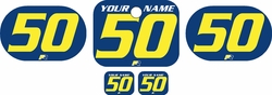 <B>Fits Honda QR50 1983-2000 Pre-Printed Backgrounds Blue - Yellow Numbers by FactoryRide