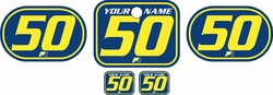 <B>Fits Honda QR50 1983-2000 Pre-Printed Backgrounds Blue - Yellow Pinstripe by FactoryRide