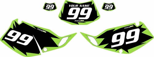 1994-1996 Kawasaki KLX250 Black Pre-Printed Backgrounds - Green Shock by FactoryRide