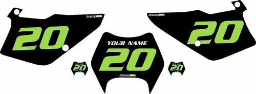 1995-2006 Kawasaki KDX200 Pre-Printed Backgrounds Black - Green Numbers by FactoryRide