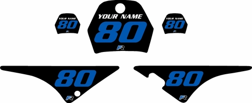 1996-2013 Yamaha PW80 Pre-Printed Backgrounds Black - Blue Numbers by FactoryRide