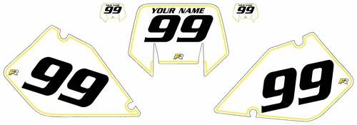1996-2001 Suzuki RMX250 Pre-Printed Backgrounds White - Yellow Pinstripe by FactoryRide