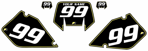 1996-2001 Suzuki RMX250 Pre-Printed Backgrounds Black - Yellow Pinstripe by FactoryRide