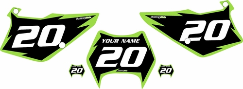 1995-2006 Kawasaki KDX200 Pre-Printed Backgrounds Black - Green Shock Series by FactoryRide
