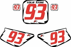 1988-1999 Honda Z50 White Pre-Printed Backgrounds - Black Shock - Red Number by FactoryRide