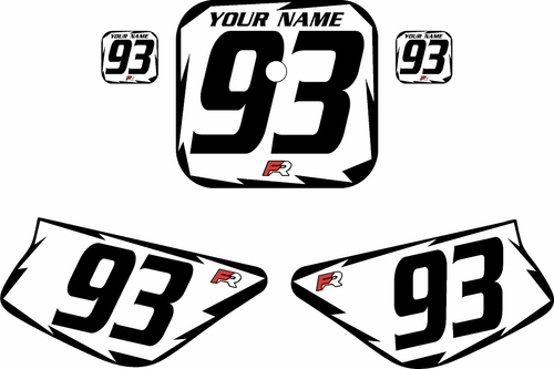 1988-1999 Honda Z50 White Pre-Printed Backgrounds - Black Shock by FactoryRide