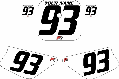 1988-1999 Honda Z50 White Pre-Printed Backgrounds - Black Numbers by FactoryRide