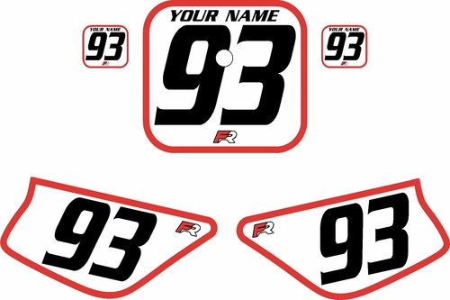 1988-1999 Honda Z50 White Pre-Printed Backgrounds - Red Bold Pinstripe by Factory Ride
