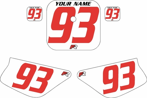 1988-1999 Honda Z50 White Pre-Printed Backgrounds - Red Numbers by FactoryRide