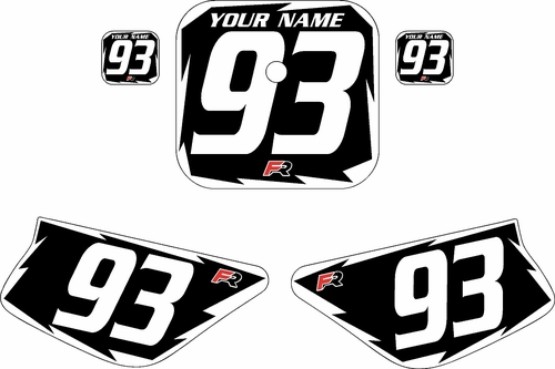 1988-1999 Honda Z50 Black Pre-Printed Backgrounds - White Shock by FactoryRide