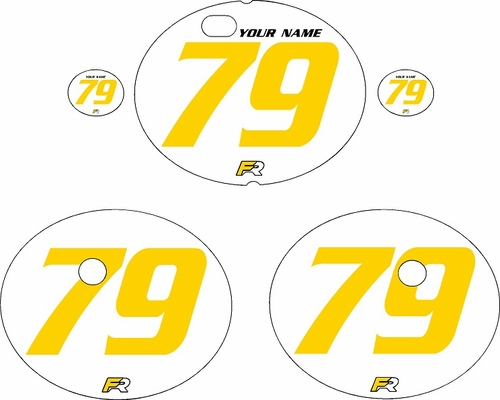1979-1980 Suzuki RM125 White Pre-Printed Backgrounds - Yellow Numbers by FactoryRide