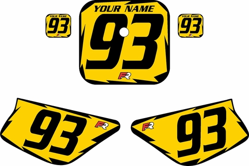 1988-1999 Honda Z50 Yellow Pre-Printed Backgrounds - Black Shock by FactoryRide