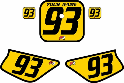 1988-1999 Honda Z50 Yellow Pre-Printed Backgrounds - Black Bold Pinstripe by FactoryRide