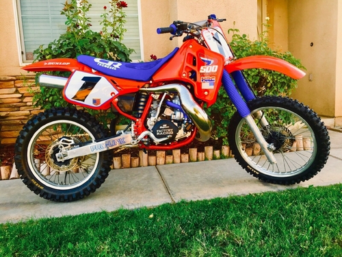 1987-1988 Honda CR500 White with Red-Blue Pro Pinstripe Background Decals