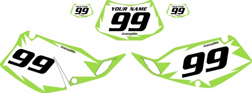1994-1996 Kawasaki KLX250 White Pre-Printed Backgrounds - Green Shock by FactoryRide