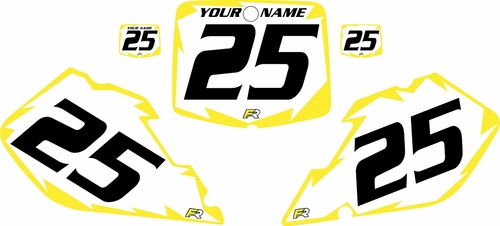1999-2000 Suzuki RM250 Pre-Printed Backgrounds White - Yellow Shock Series by FactoryRide
