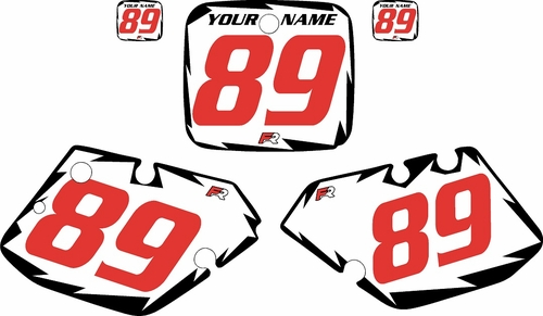 1989-1990 Yamaha YZ250 Pre-Printed White Background - Black Shock Series - Red Number