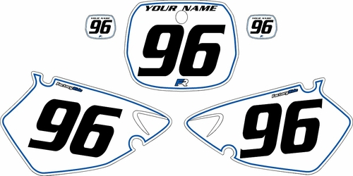 1996-1999 Yamaha YZ125 Custom Pre-Printed Background White - Blue Pinstripe by Factory Ride