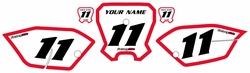 <B>2011-2013 Honda CRF80 White Pre-Printed Backgrounds - Red Bold Pinstripe by Factory Ride