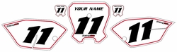 <B>2011-2013 Honda CRF80 White Pre-Printed Backgrounds - Red Pinstripe by Factory Ride<B>