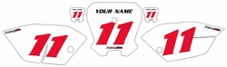 <B>2011-2013 Honda CRF80 White Pre-Printed Backgrounds - Red Numbers by Factory Ride