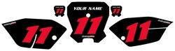 <B>2011-2013 Honda CRF80 Black Pre-Printed Backgrounds - Red Numbers by FactoryRide