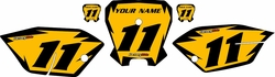 <B>2011-2013 Honda CRF80 Yellow Pre-Printed Backgrounds - Black Shock by FactoryRide