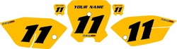 <B>2011-2013 Honda CRF80 Yellow Pre-Printed Backgrounds - Black Numbers by FactoryRide