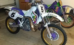 Customers 1989-1995 KX500 White Background Decals with Black Pinstripe