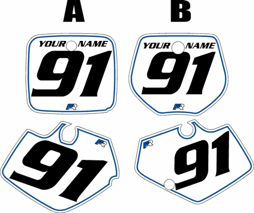 1991-1992 Yamaha YZ250 Custom Pre-Printed White Background - Blue Pinstripe by Factory Ride