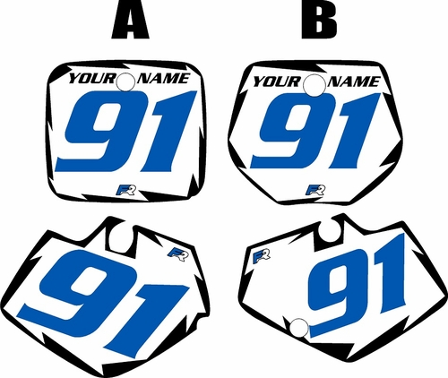 1991-1992 Yamaha YZ250 Pre-Printed White Background - Black Shock Series - Blue Number