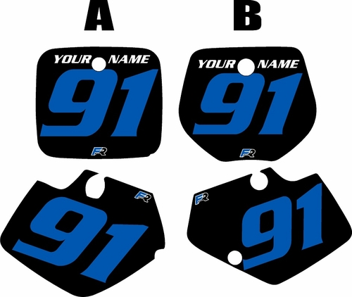 1991-1992 Yamaha YZ250 Custom Pre-Printed Black Background - Blue Numbers by Factory Ride