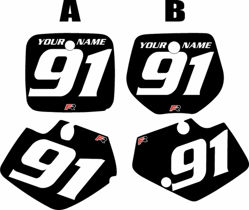 1991-1992 Yamaha YZ125 Custom Pre-Printed Black Background - White Numbers by Factory Ride