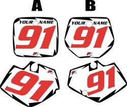 Yamaha YZ125 1991-1992 White Pre-Printed Backgrounds - Black Shock - Red Number by FactoryRide