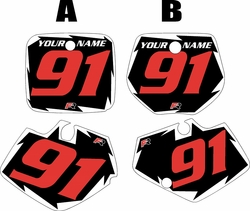 Yamaha YZ125 1991-1992 Black Pre-Printed Backgrounds - White Shock - Red Number by FactoryRide