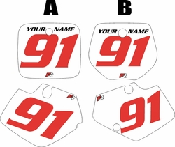 Yamaha YZ125 1991-1992 White Pre-Printed Backgrounds - Red Numbers by FactoryRide