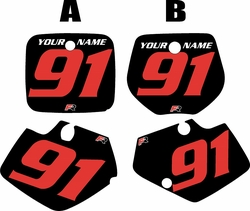 Yamaha YZ125 1991-1992 Black Pre-Printed Backgrounds - Red Numbers by FactoryRide
