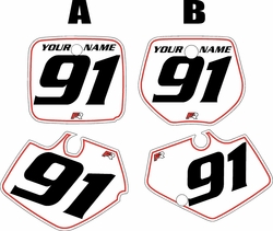 Yamaha YZ250 1991-1992 White Pre-Printed Backgrounds - Red Pinstripe by FactoryRide
