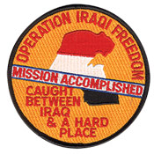 "OPERATION IRAQI FREEDOM MISSION ACCOMPLISHED - EMBROIDERED PATCH <FONT color=#ff0010 face=""Comic Sans MS"">CLOSEOUT PRICED</FONT>"