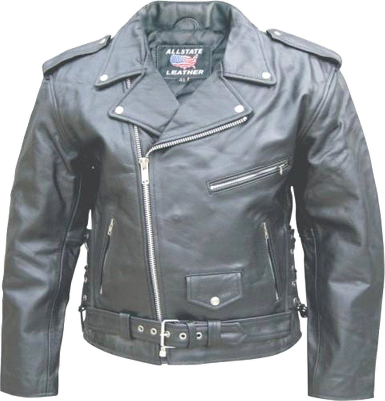 ab8b63b5592 Men s Black Cowhide Leather Classic Motorcycle Jacket with Zip-out liner   side  laces
