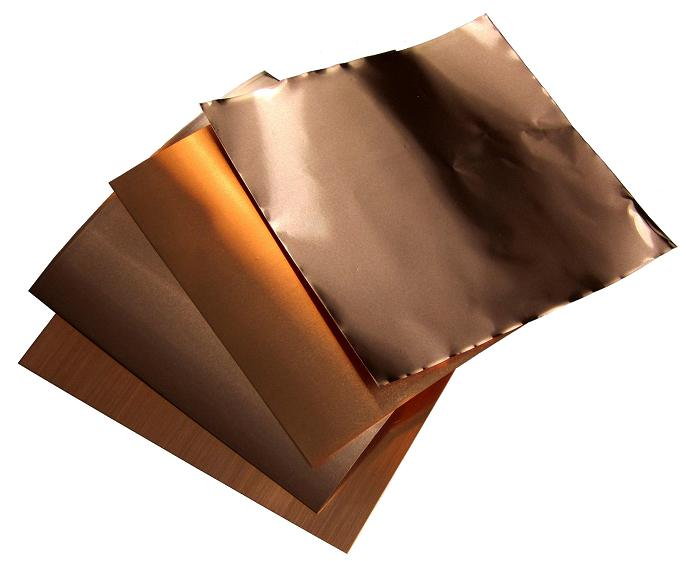 "6"" X 6"" Copper Foil Sampler #1B Includes 1, 1.4, 3 & 5 mil (4 sheets)"