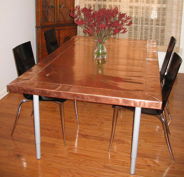 copper dining table crawford bray 10 mil copper sheet
