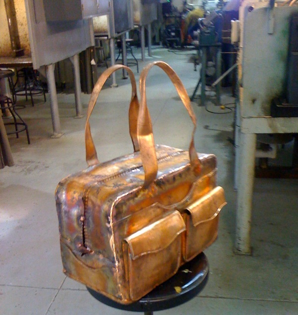 Copper Luggage- Sculpture by Shapour Mirzai
