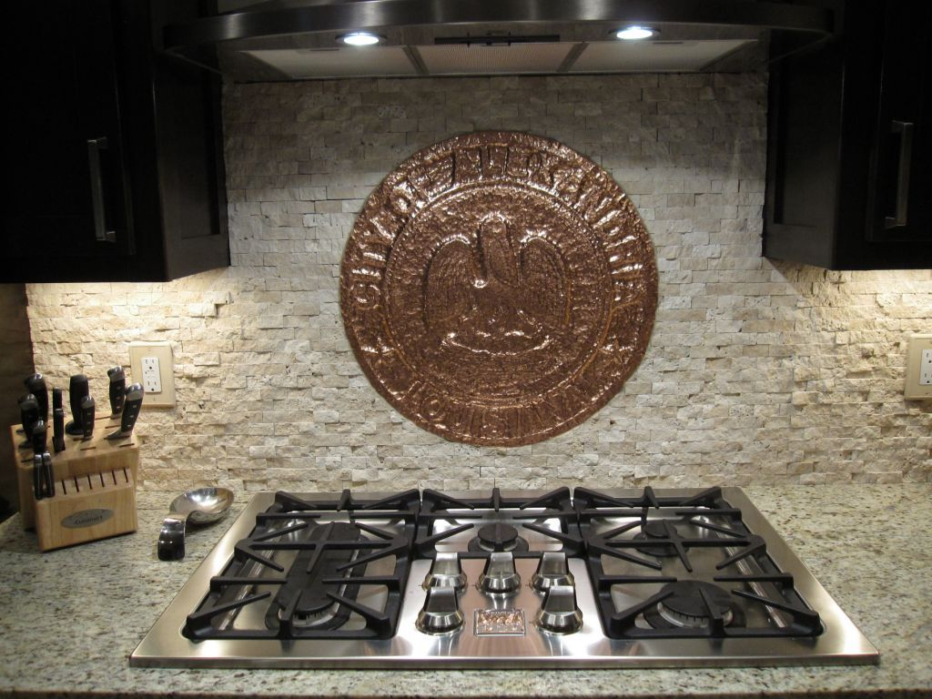 Kitchen Backsplash with Copper Medallion Accent- by JL Peyton, Louisiana