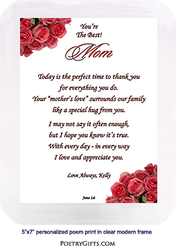"""Best Mom"" Poem in Musical Frame for Mother's Day or Birthday"