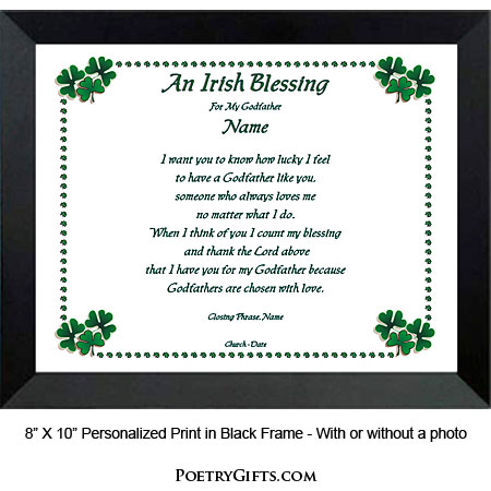 Godparent Irish Blessing Gift