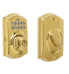 Schlage BE365 Camelot Design Pushbutton Deadbolt in a Bright Brass Finish