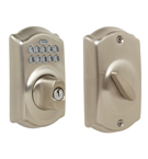 Schlage BE365 Camelot Design Pushbutton Deadbolt in a Satin Nickel Finish