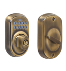 Schlage BE365 Plymouth Design Pushbutton Deadbolt in a Antique Brass Finish